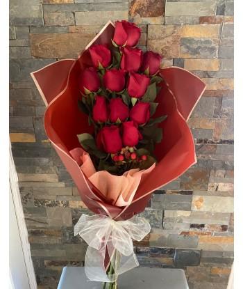 Ramo 12 rosas rojas con...