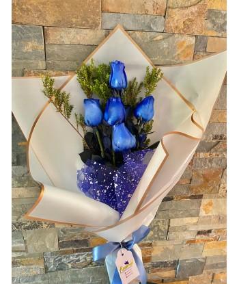 Ramo 5 rosas azules